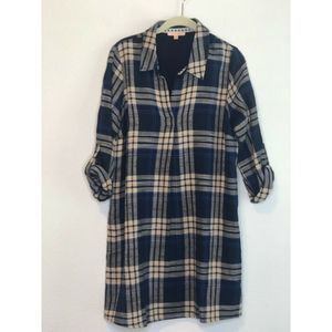 Skies are Blue Tunic Dress Blue and Tan Plaid